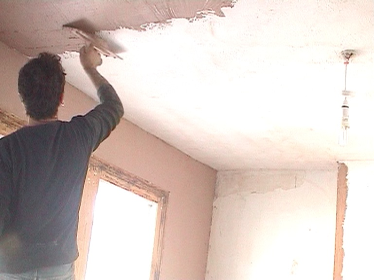 plaster over artex ceiling