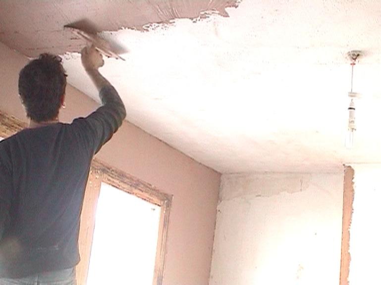 plaster over artex ceiling