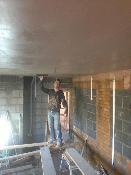 Plastering ceiling