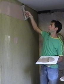 application of skim coat plaster. Black Bedroom Furniture Sets. Home Design Ideas